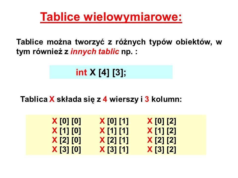 Tablice wielowymiarowe: Tablice można tworzyć z różnych typów obiektów, w tym również z innych tablic np. : int X [4] [3]; Tablica X składa się z 4 wi