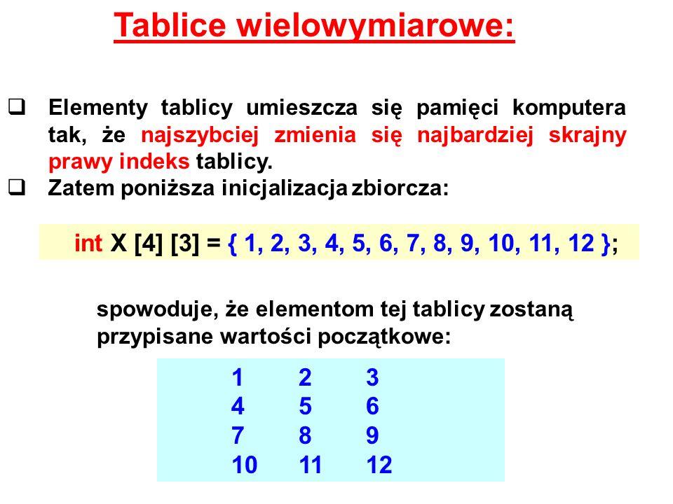 Tablice wielowymiarowe: Elementy tablicy umieszcza się pamięci komputera tak, że najszybciej zmienia się najbardziej skrajny prawy indeks tablicy. Zat