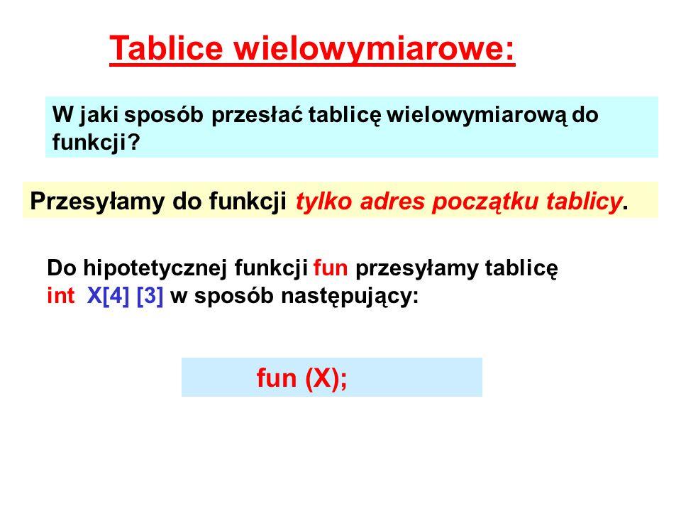 Tablice wielowymiarowe: W jaki sposób przesłać tablicę wielowymiarową do funkcji? Przesyłamy do funkcji tylko adres początku tablicy. Do hipotetycznej