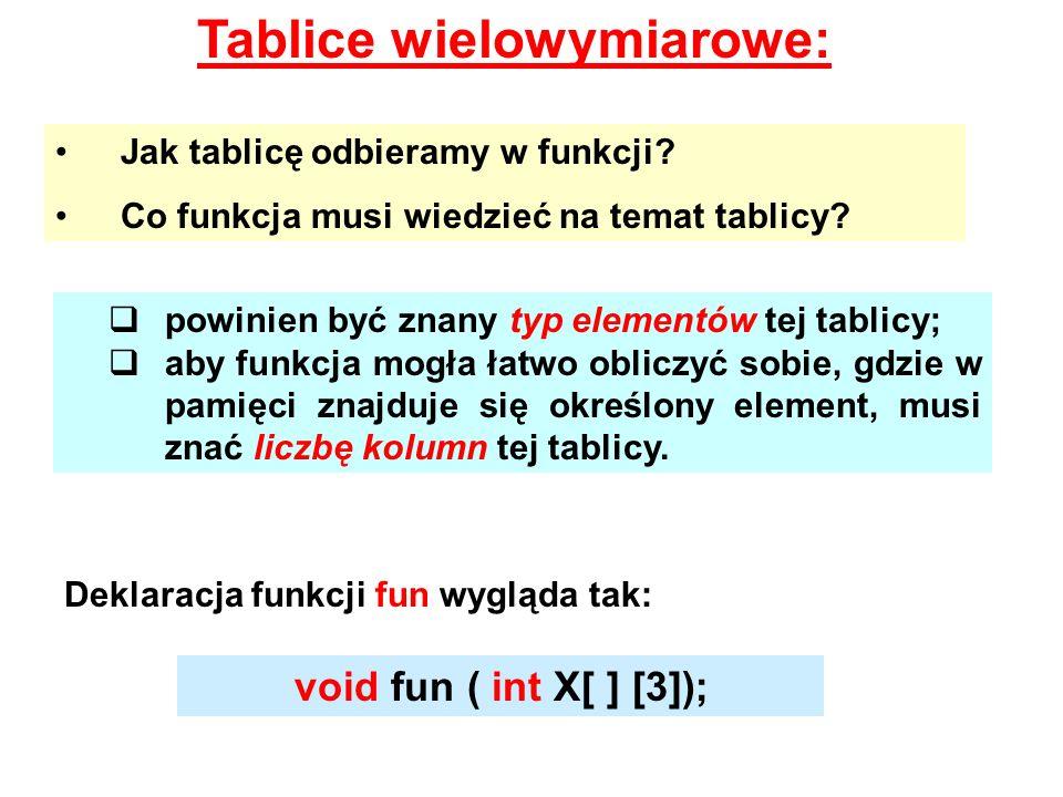 Tablice wielowymiarowe: Jak tablicę odbieramy w funkcji? Co funkcja musi wiedzieć na temat tablicy? powinien być znany typ elementów tej tablicy; aby