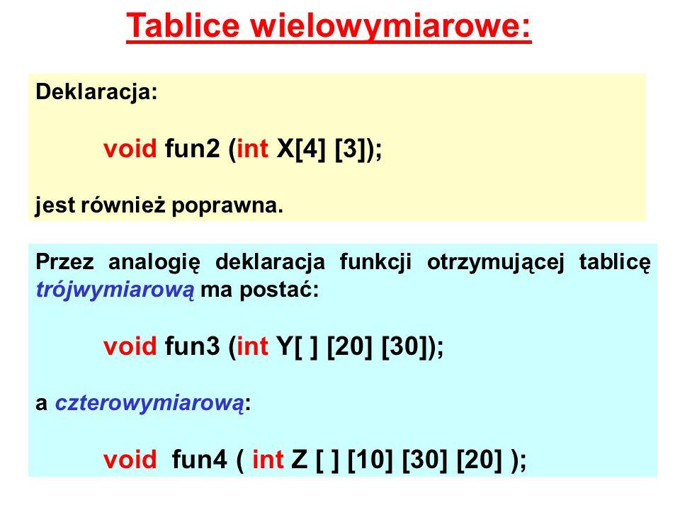 Tablice wielowymiarowe: Deklaracja: void fun2 (int X[4] [3]); jest również poprawna. Przez analogię deklaracja funkcji otrzymującej tablicę trójwymiar