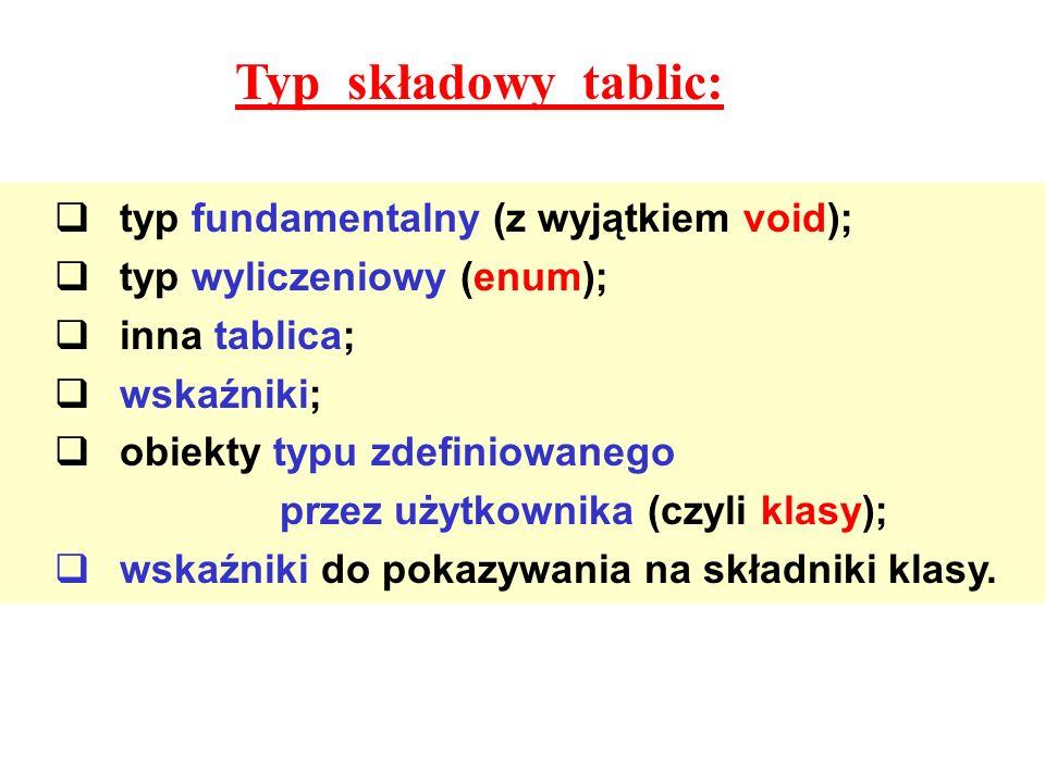 typ fundamentalny (z wyjątkiem void); typ wyliczeniowy (enum); inna tablica; wskaźniki; obiekty typu zdefiniowanego przez użytkownika (czyli klasy); w