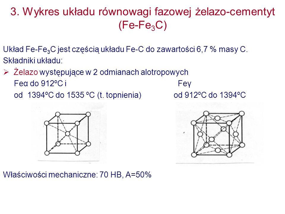 3. Wykres układu równowagi fazowej żelazo-cementyt (Fe-Fe 3 C) Układ Fe-Fe 3 C jest częścią układu Fe-C do zawartości 6,7 % masy C. Składniki układu:
