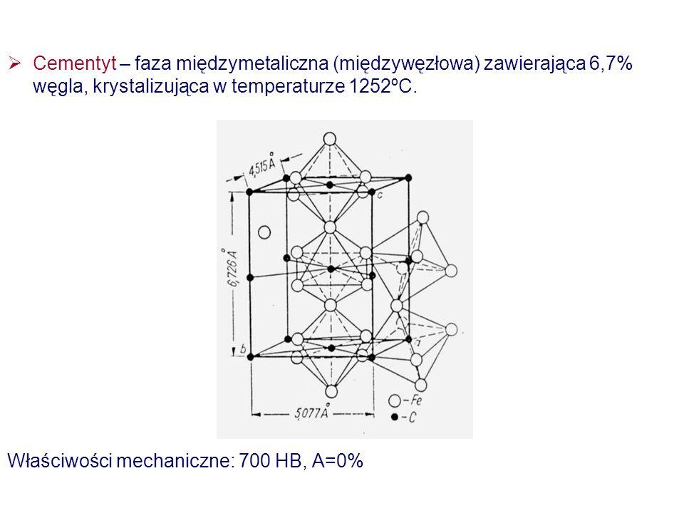 Cementyt – faza międzymetaliczna (międzywęzłowa) zawierająca 6,7% węgla, krystalizująca w temperaturze 1252ºC. Właściwości mechaniczne: 700 HB, A=0%