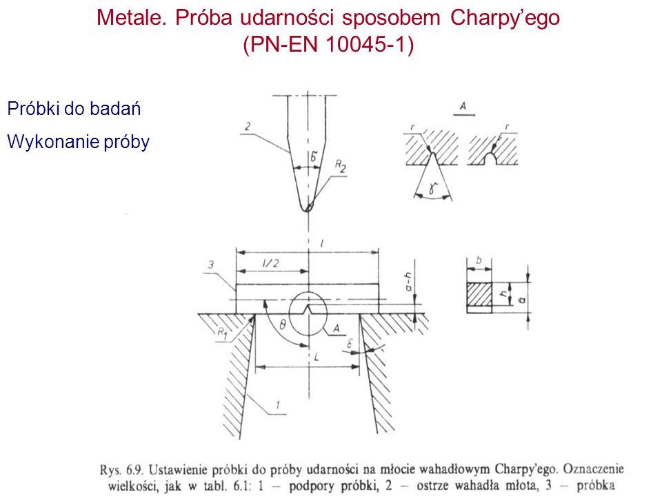 Metale. Próba udarności sposobem Charpyego (PN-EN 10045-1) Próbki do badań Wykonanie próby
