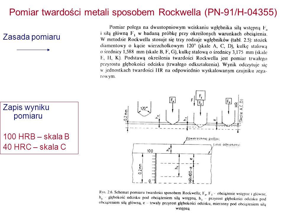 Pomiar twardości metali sposobem Rockwella (PN-91/H-04355) Zasada pomiaru Zapis wyniku pomiaru 100 HRB – skala B 40 HRC – skala C