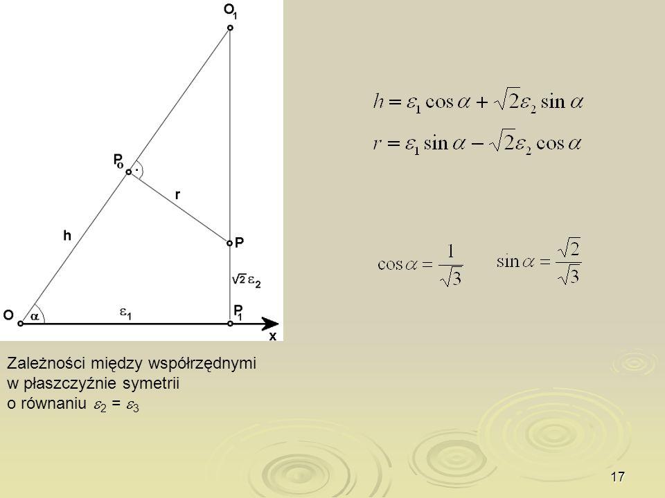 17 Zależności między współrzędnymi w płaszczyźnie symetrii o równaniu 2 = 3