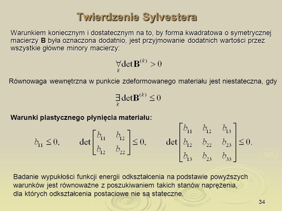 34 Twierdzenie Sylvestera Warunkiem koniecznym i dostatecznym na to, by forma kwadratowa o symetrycznej macierzy B była oznaczona dodatnio, jest przyj