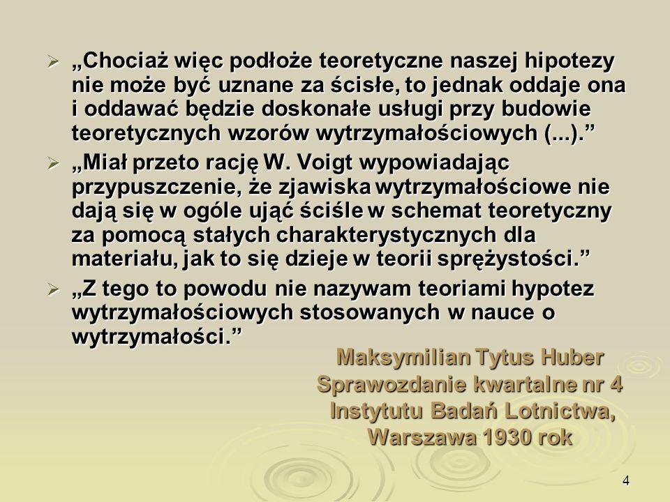 4 Maksymilian Tytus Huber Sprawozdanie kwartalne nr 4 Instytutu Badań Lotnictwa, Warszawa 1930 rok Chociaż więc podłoże teoretyczne naszej hipotezy ni