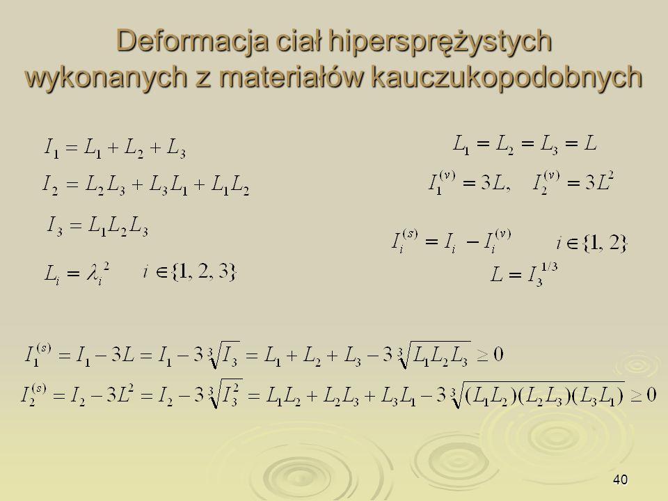 40 Deformacja ciał hipersprężystych wykonanych z materiałów kauczukopodobnych