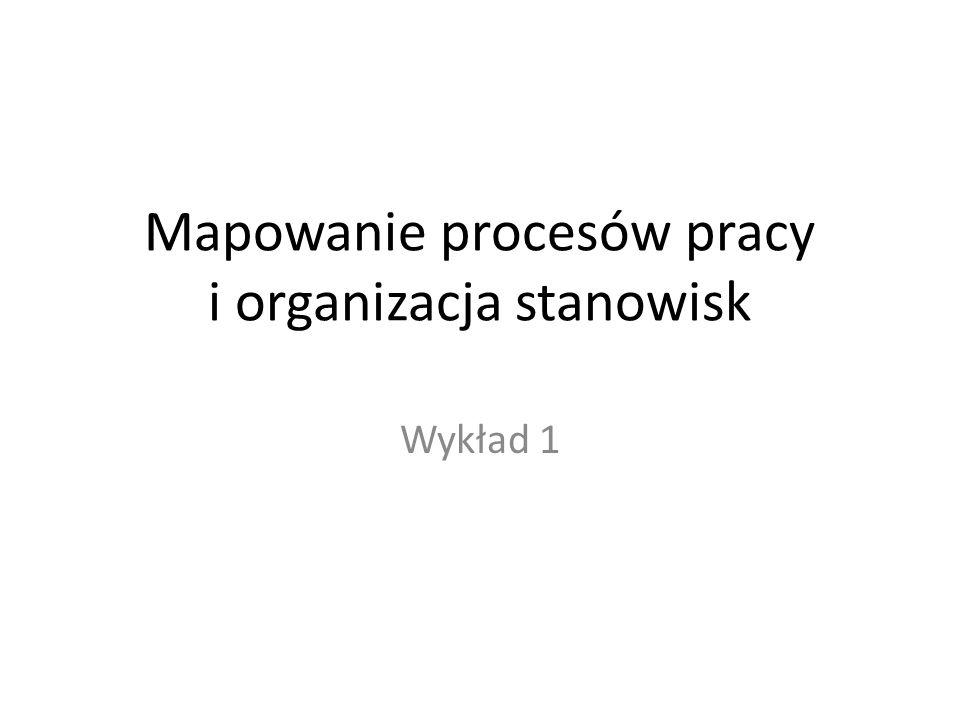 Mapowanie procesów pracy i organizacja stanowisk Wykład 1