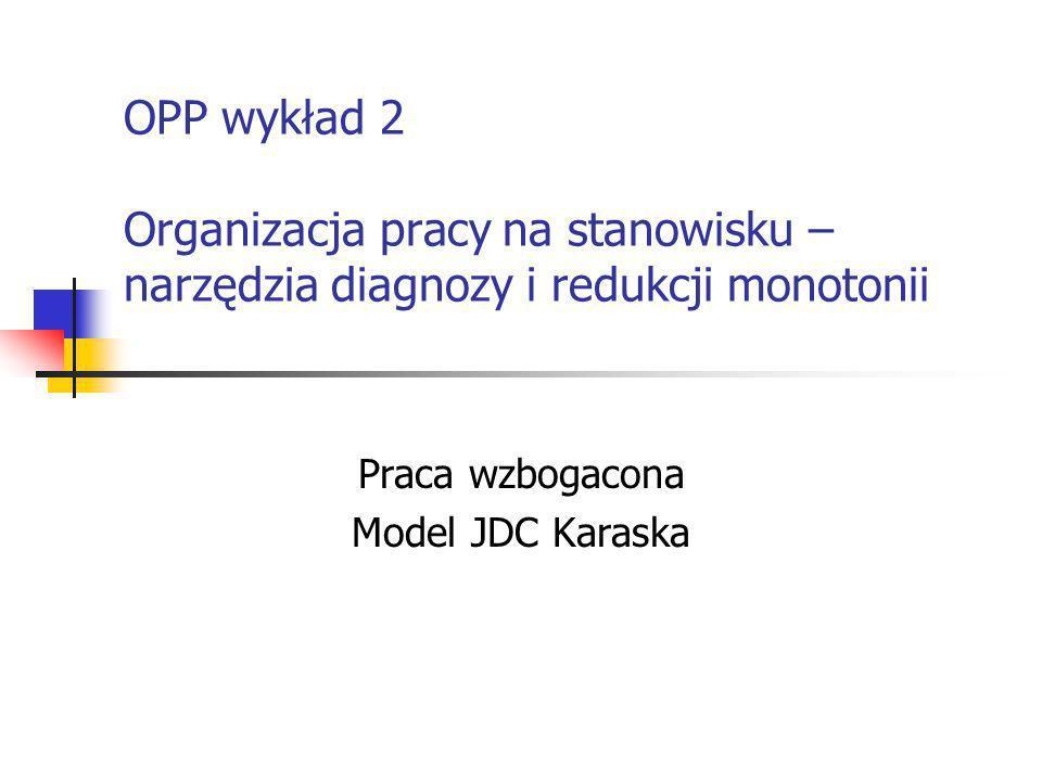 OPP wykład 2 Organizacja pracy na stanowisku – narzędzia diagnozy i redukcji monotonii Praca wzbogacona Model JDC Karaska