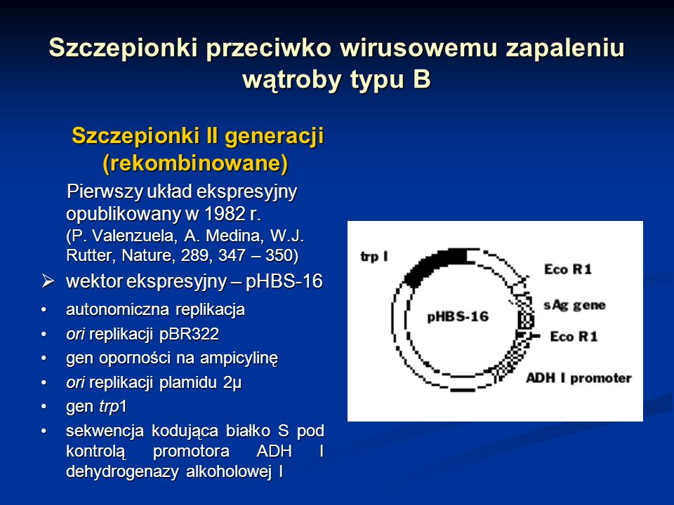 Szczepionki przeciwko wirusowemu zapaleniu wątroby typu B Szczepionki II generacji (rekombinowane) Szczepionki II generacji (rekombinowane) Pierwszy u