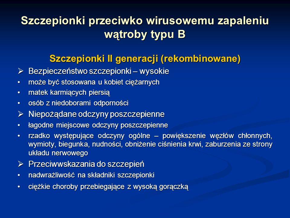 Szczepionki przeciwko wirusowemu zapaleniu wątroby typu B Szczepionki II generacji (rekombinowane) Bezpieczeństwo szczepionki – wysokie Bezpieczeństwo