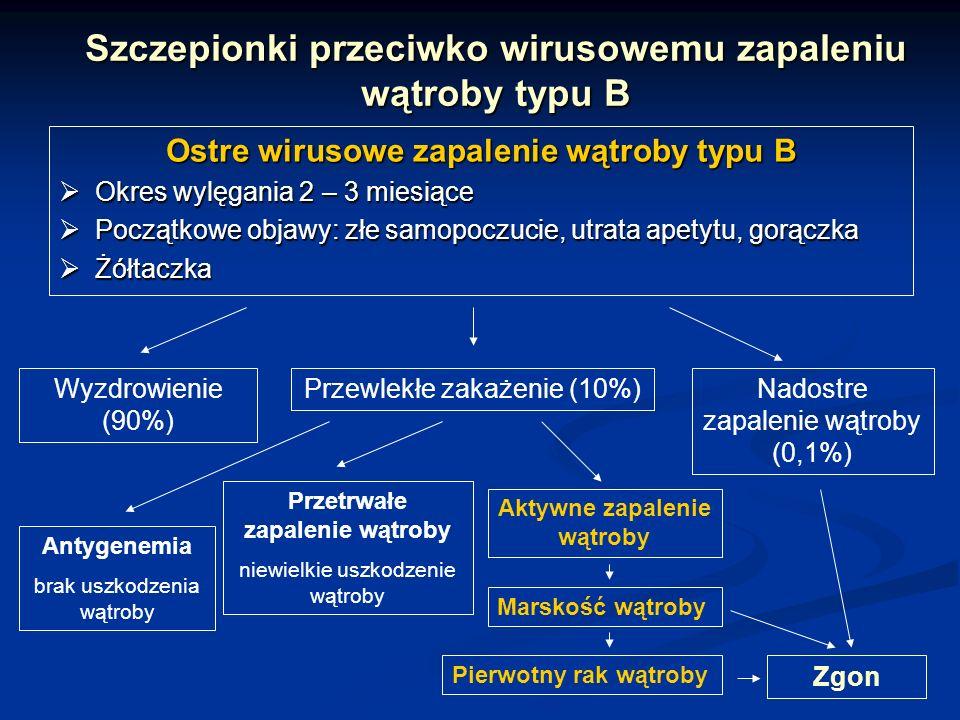 Szczepionki przeciwko wirusowemu zapaleniu wątroby typu B Ostre wirusowe zapalenie wątroby typu B Okres wylęgania 2 – 3 miesiące Okres wylęgania 2 – 3