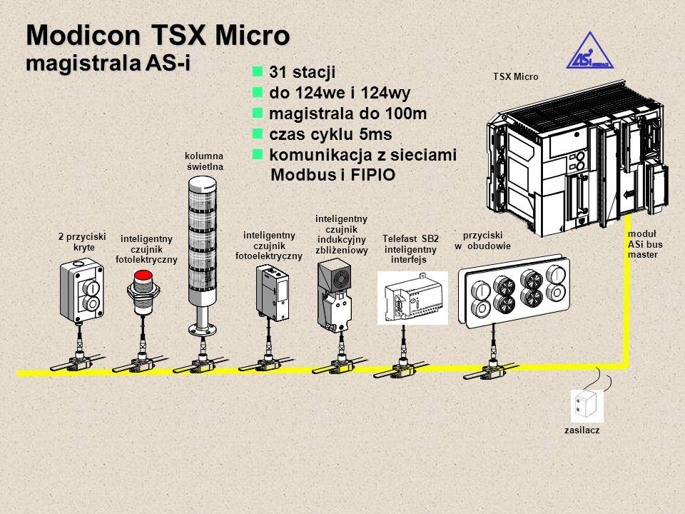 Modicon TSX Micro magistrala AS-i 31 stacji do 124we i 124wy magistrala do 100m czas cyklu 5ms komunikacja z sieciami Modbus i FIPIO TSX Micro zasilac