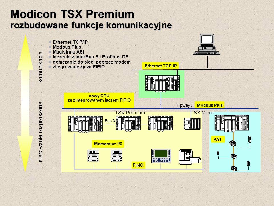 Modicon TSX Premium rozbudowane funkcje komunikacyjne komunikacja sterowanie rozproszone Fipway / Modbus Plus Bus X Momentum I/0 FipIO ASi Ethernet TC