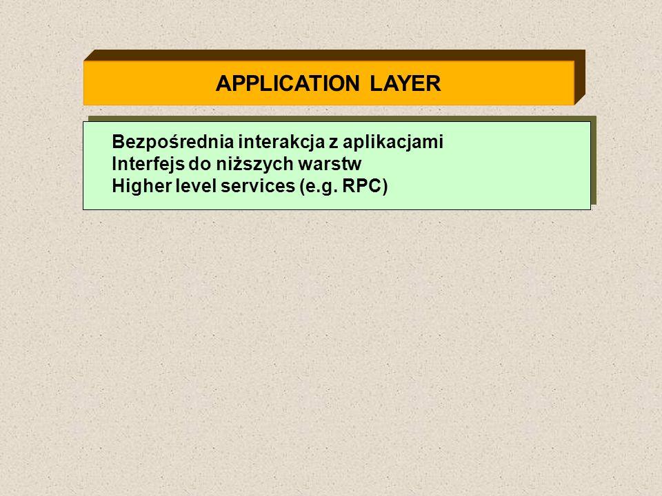 APPLICATION LAYER Bezpośrednia interakcja z aplikacjami Interfejs do niższych warstw Higher level services (e.g. RPC)