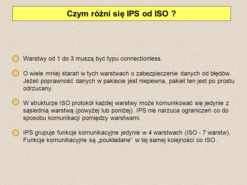 Czym różni się IPS od ISO ? Warstwy od 1 do 3 muszą być typu connectionless. O wiele mniej starań w tych warstwach o zabezpieczenie danych od błędów.