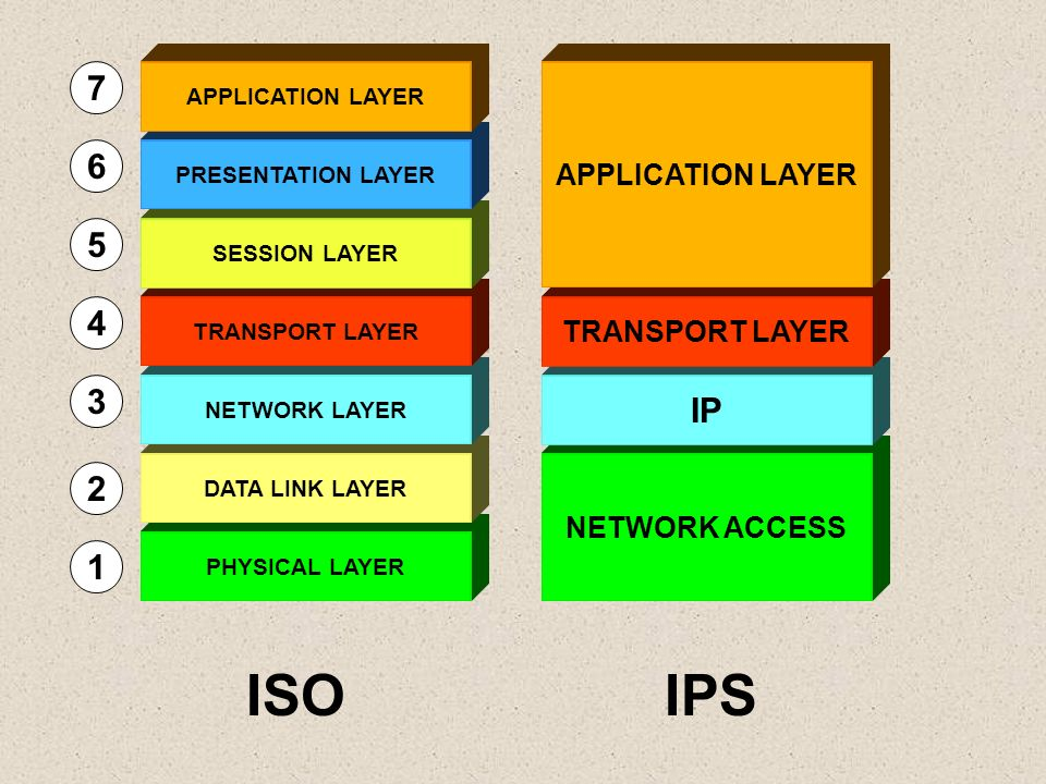 PHYSICAL LAYER DATA LINK LAYER NETWORK LAYER TRANSPORT LAYER SESSION LAYER PRESENTATION LAYER APPLICATION LAYER 1 2 3 4 5 6 7 NETWORK ACCESS IP TRANSP