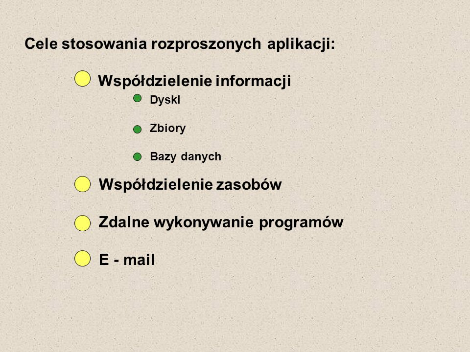 Cele stosowania rozproszonych aplikacji: Współdzielenie informacji Współdzielenie zasobów Zdalne wykonywanie programów E - mail Dyski Zbiory Bazy dany
