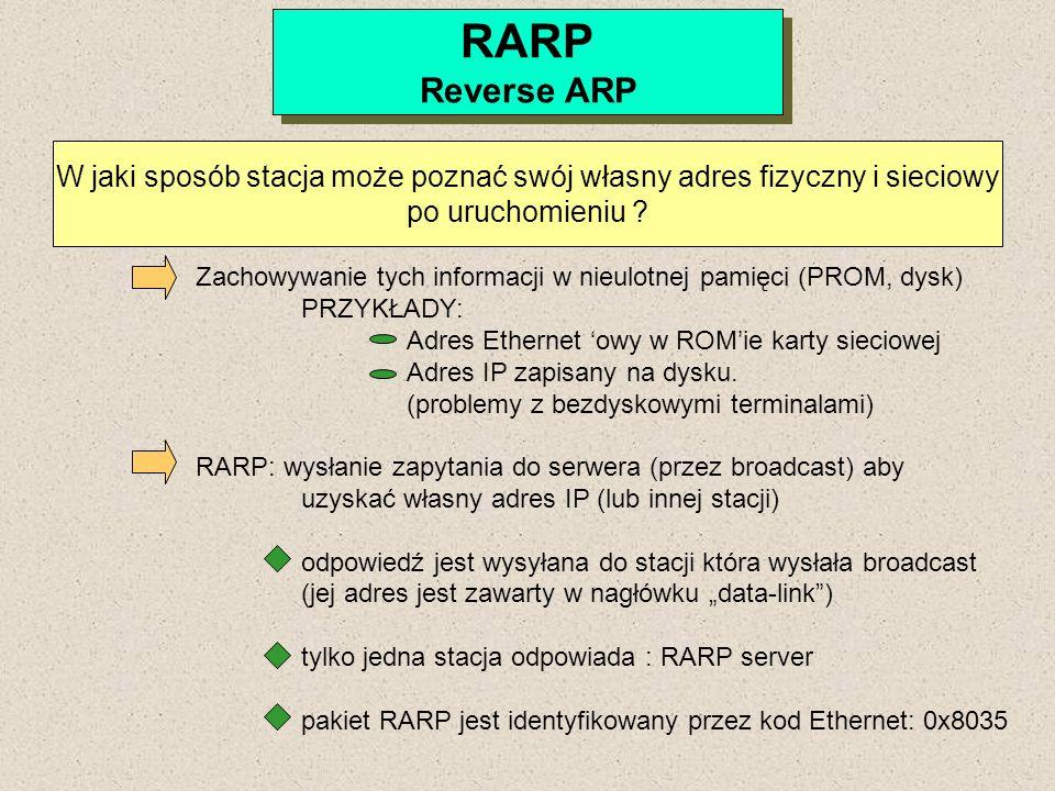 RARP Reverse ARP RARP Reverse ARP W jaki sposób stacja może poznać swój własny adres fizyczny i sieciowy po uruchomieniu ? Zachowywanie tych informacj
