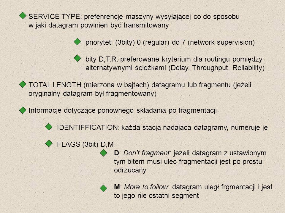 SERVICE TYPE: prefenrencje maszyny wysyłającej co do sposobu w jaki datagram powinien być transmitowany priorytet: (3bity) 0 (regular) do 7 (network s