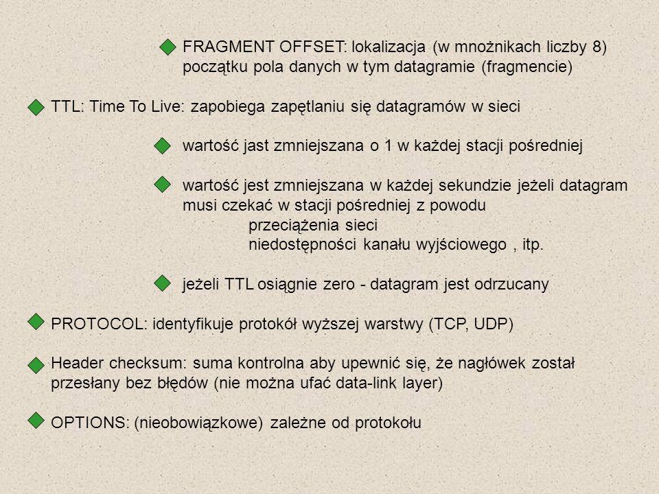 FRAGMENT OFFSET: lokalizacja (w mnożnikach liczby 8) początku pola danych w tym datagramie (fragmencie) TTL: Time To Live: zapobiega zapętlaniu się da