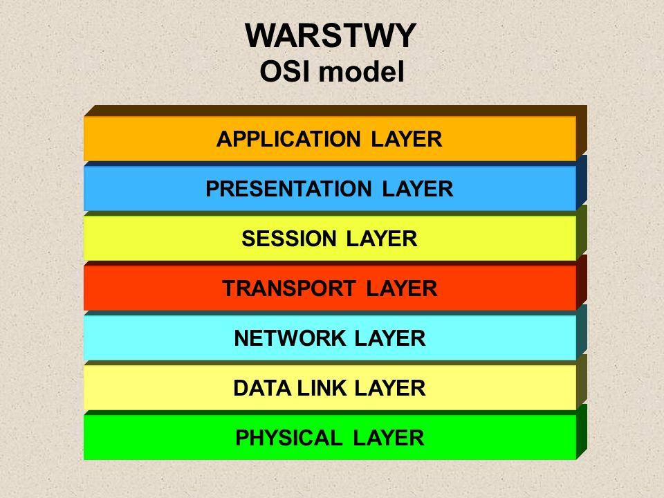PHYSICAL LAYER DATA LINK LAYER NETWORK LAYER TRANSPORT LAYER SESSION LAYER PRESENTATION LAYER APPLICATION LAYER WARSTWY OSI model