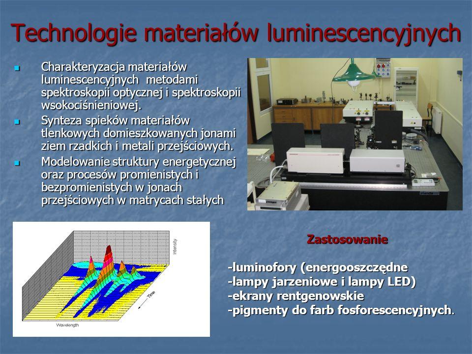 Technologie materiałów luminescencyjnych Zastosowanie -luminofory (energooszczędne -lampy jarzeniowe i lampy LED) -ekrany rentgenowskie -pigmenty do f
