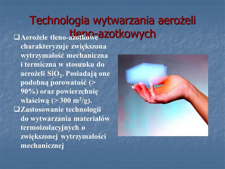 Technologia wytwarzania aerożeli tleno-azotkowych Aerożele tleno-azotkowe charakteryzuje zwiększona wytrzymałość mechaniczna i termiczna w stosunku do