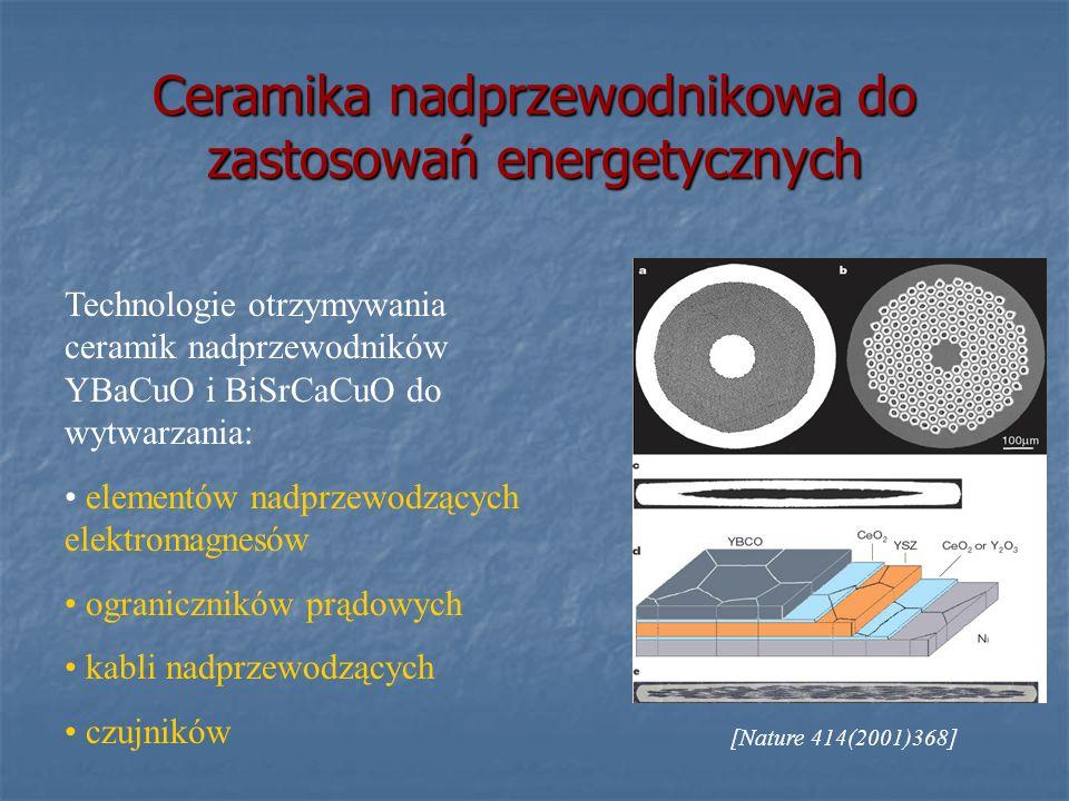 Ceramika nadprzewodnikowa do zastosowań energetycznych Technologie otrzymywania ceramik nadprzewodników YBaCuO i BiSrCaCuO do wytwarzania: elementów n