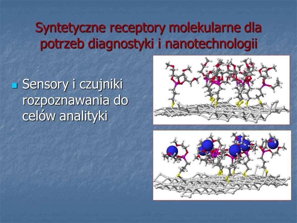Syntetyczne receptory molekularne dla potrzeb diagnostyki i nanotechnologii Sensory i czujniki rozpoznawania do celów analityki Sensory i czujniki roz
