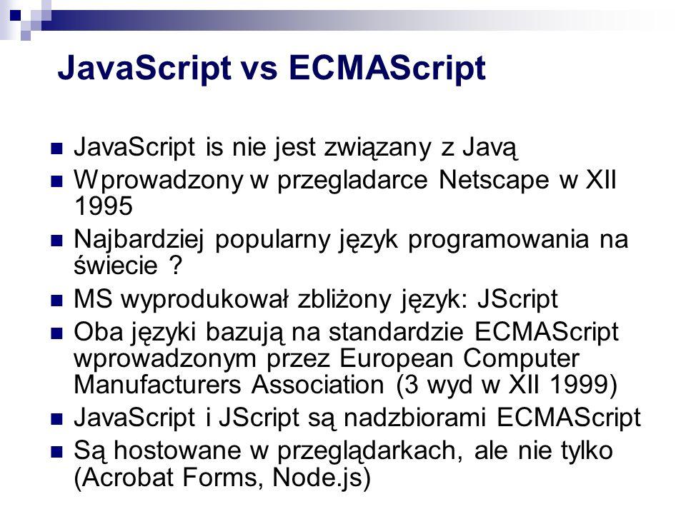 Typy (pojedyncza wartość: ) Undefined (pojedyncza wartość: undefined ) (pojedyncza wartość: ) Null (pojedyncza wartość: null ) (wartości:, ) Boolean (wartości: true, false ) (niemutowalna sekwencja znaków Unicode, brak typu znakowego) String (niemutowalna sekwencja znaków Unicode, brak typu znakowego) (64-bitowa liczba zmiennoprzecinkowa, brak typu całkowitego, specjalne wartości i ) Number (64-bitowa liczba zmiennoprzecinkowa, brak typu całkowitego, specjalne wartości NaN i Infinity ) Object ...i to by było na tyle... .