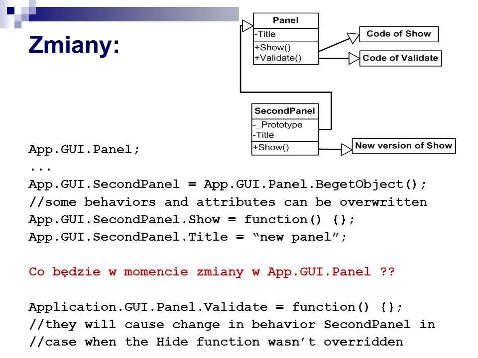 Zmiany: App.GUI.Panel;... App.GUI.SecondPanel = App.GUI.Panel.BegetObject(); //some behaviors and attributes can be overwritten App.GUI.SecondPanel.Sh
