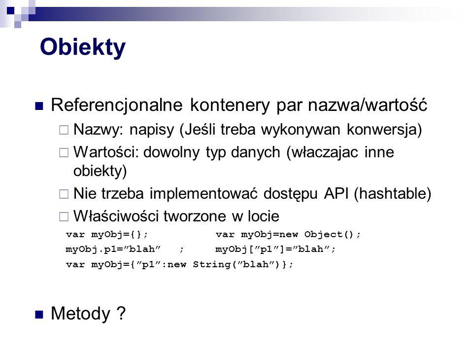 Emulacja dziedziczenia (c.d.) Łańcuch dziedziczenia po utworzeniu jest stabilny Derived.prototype=new Base1(); var d1=new Derived(...); //d1 cannot be altered to inherit //from object other than Base1...ale można go zmienić dla nowych obiektów Derived.prototype=new Base2(); var d2=new Derived(...); //d1 and d2 inherit from //different objects