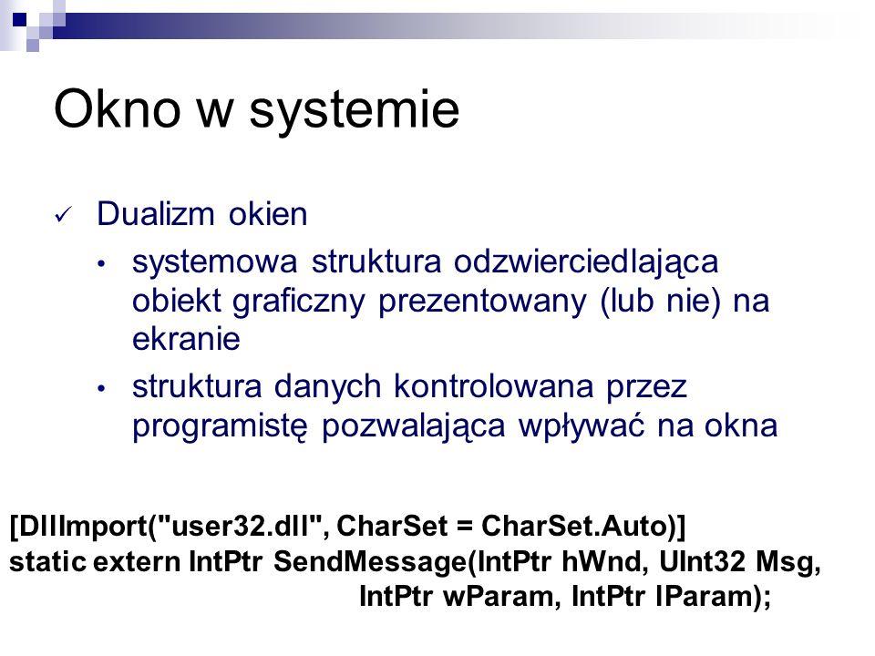Okno w systemie Dualizm okien systemowa struktura odzwierciedlająca obiekt graficzny prezentowany (lub nie) na ekranie struktura danych kontrolowana p