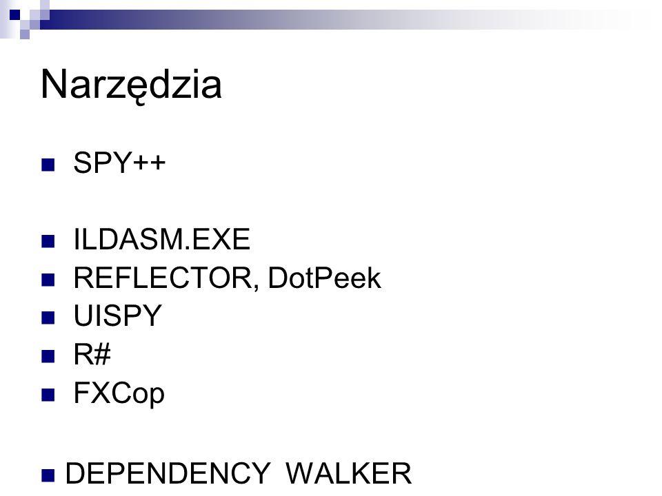 Narzędzia SPY++ ILDASM.EXE REFLECTOR, DotPeek UISPY R# FXCop DEPENDENCY WALKER