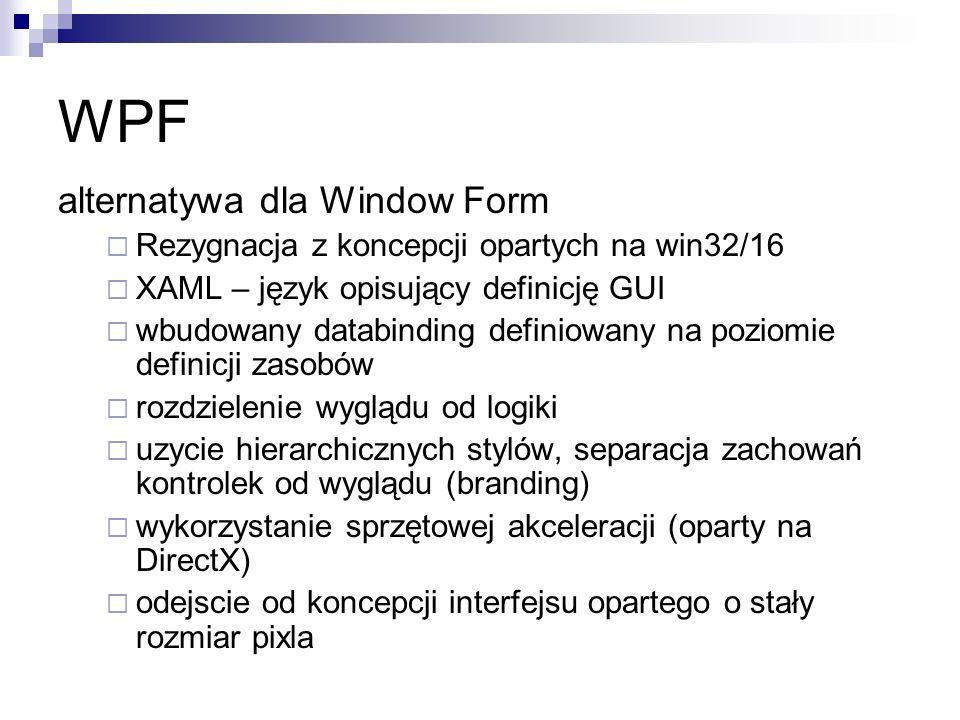 WPF alternatywa dla Window Form Rezygnacja z koncepcji opartych na win32/16 XAML – język opisujący definicję GUI wbudowany databinding definiowany na