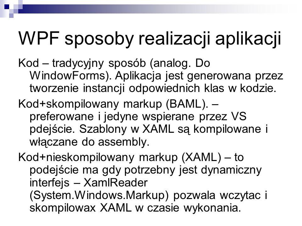 WPF sposoby realizacji aplikacji Kod – tradycyjny sposób (analog. Do WindowForms). Aplikacja jest generowana przez tworzenie instancji odpowiednich kl