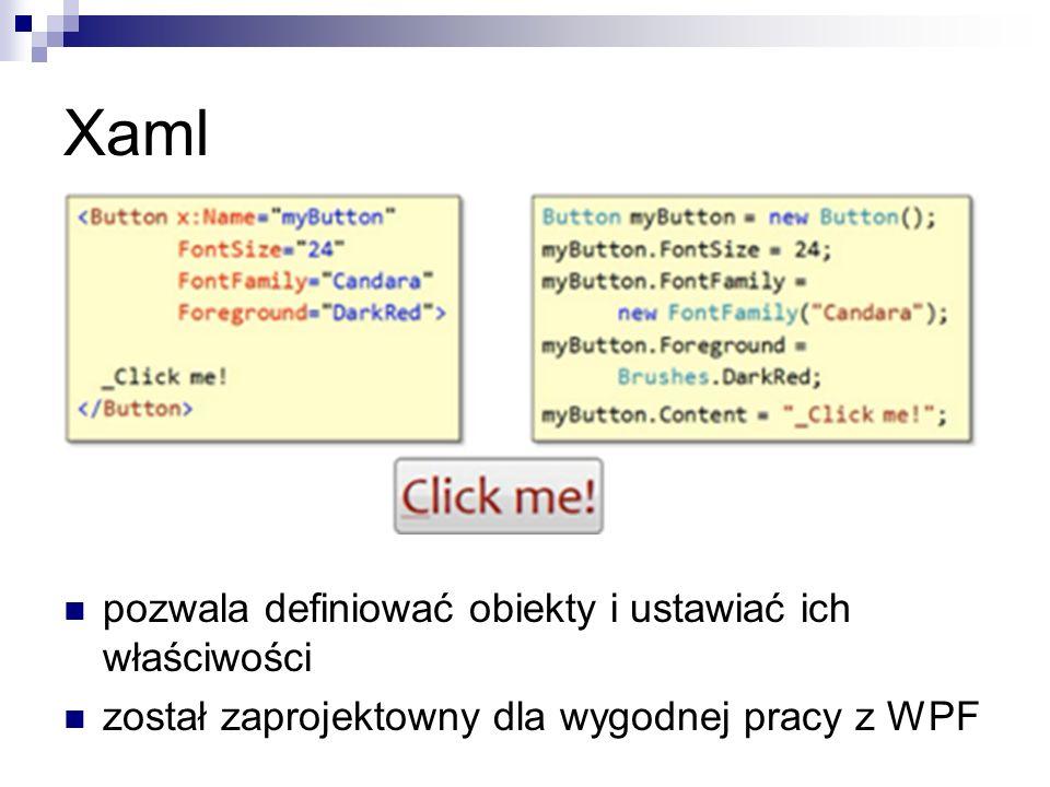 Xaml pozwala definiować obiekty i ustawiać ich właściwości został zaprojektowny dla wygodnej pracy z WPF