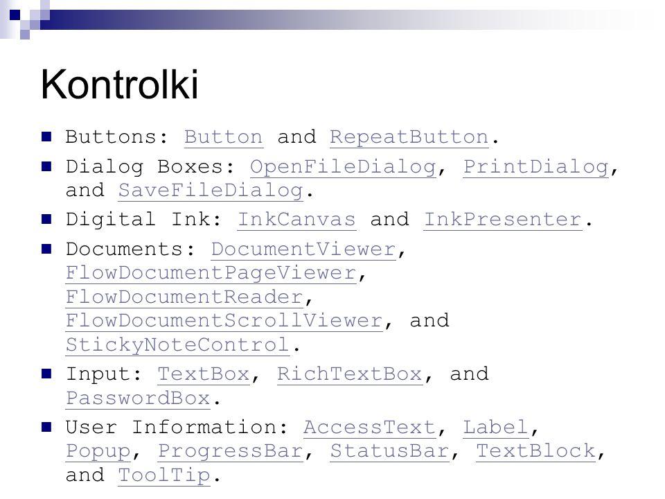 Kontrolki Buttons: Button and RepeatButton.ButtonRepeatButton Dialog Boxes: OpenFileDialog, PrintDialog, and SaveFileDialog.OpenFileDialogPrintDialogS