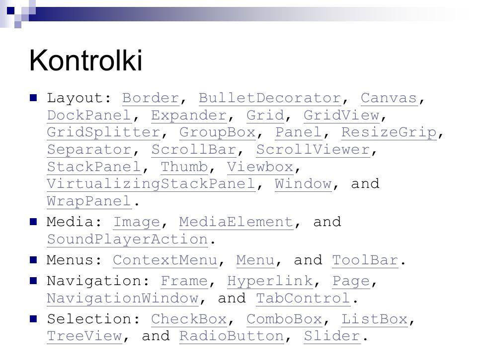 Kontrolki Layout: Border, BulletDecorator, Canvas, DockPanel, Expander, Grid, GridView, GridSplitter, GroupBox, Panel, ResizeGrip, Separator, ScrollBa