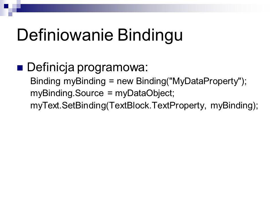 Definiowanie Bindingu Definicja programowa: Binding myBinding = new Binding(