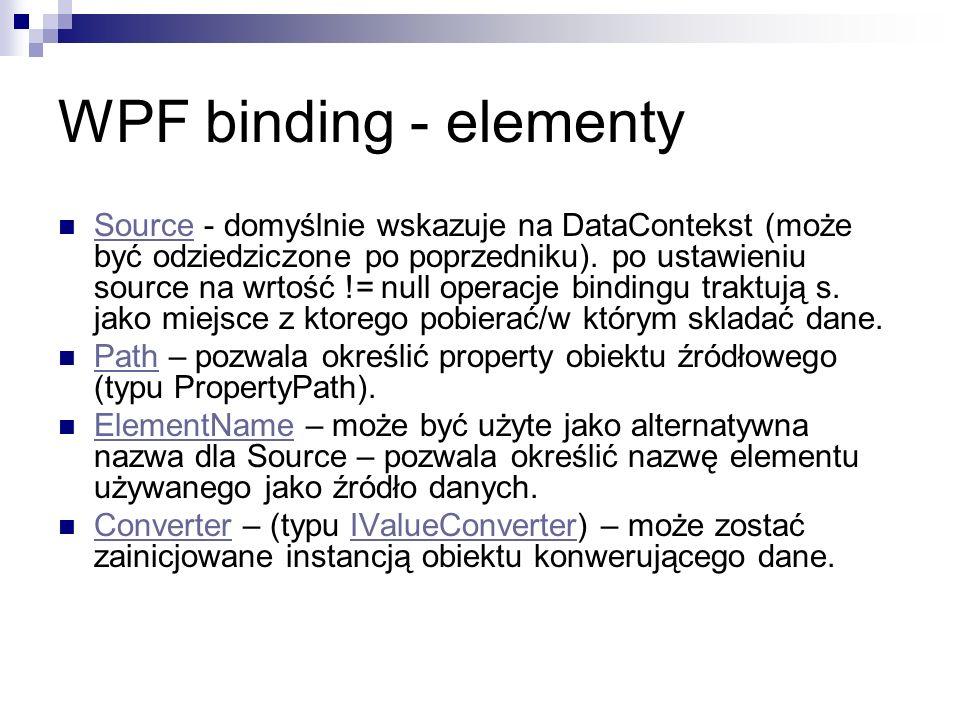 Source - domyślnie wskazuje na DataContekst (może być odziedziczone po poprzedniku). po ustawieniu source na wrtość != null operacje bindingu traktują