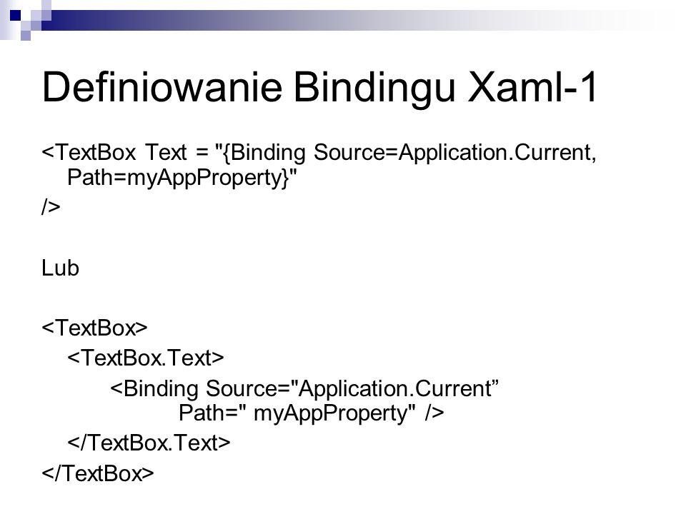 Definiowanie Bindingu Xaml-1 <TextBox Text =
