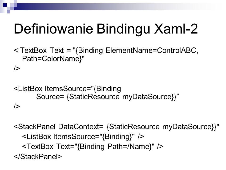 Definiowanie Bindingu Xaml-2 < TextBox Text =