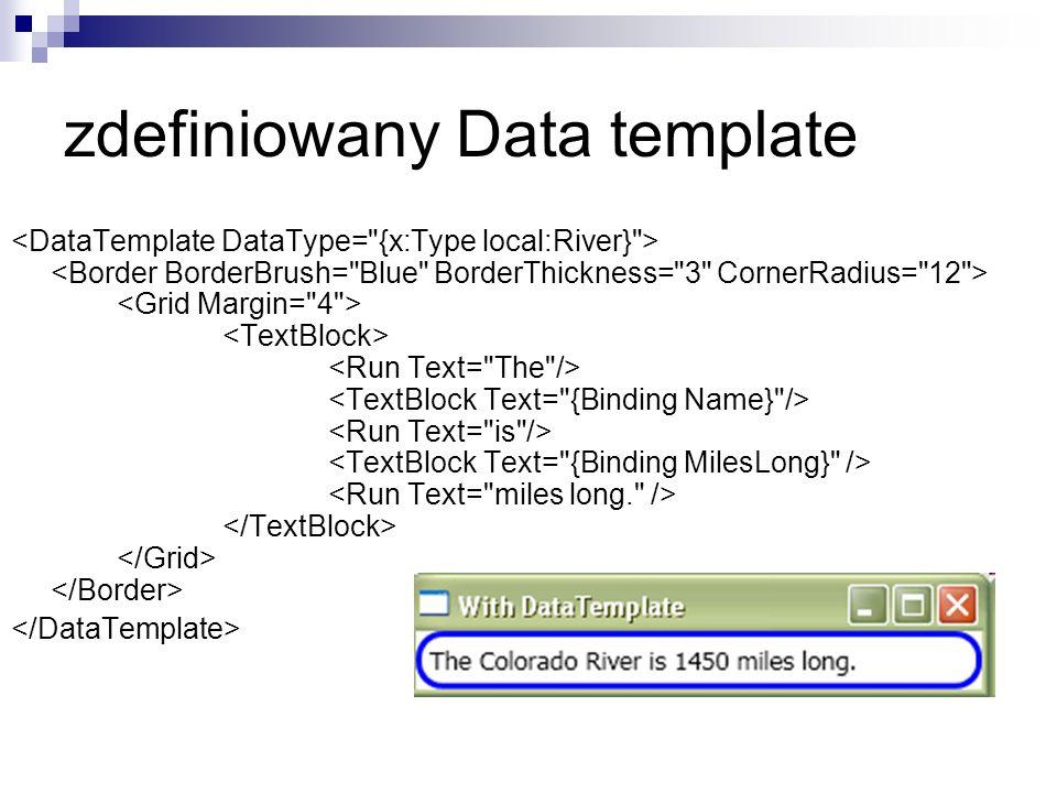 zdefiniowany Data template