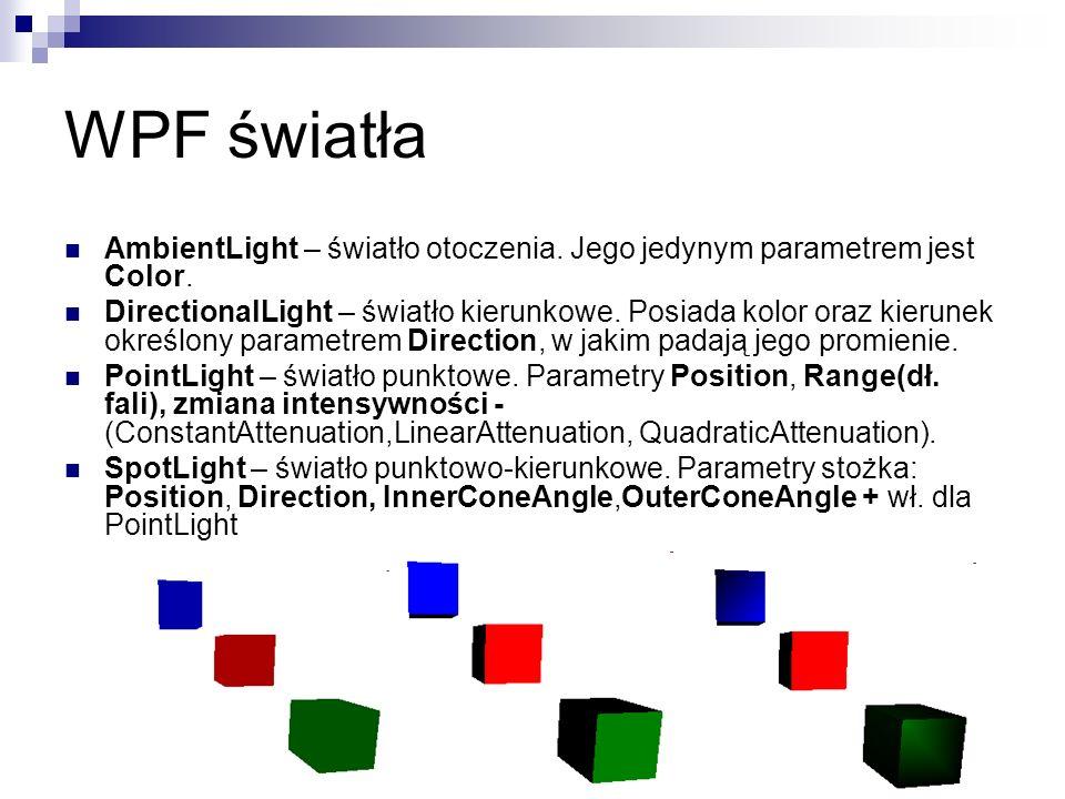 AmbientLight – światło otoczenia. Jego jedynym parametrem jest Color. DirectionalLight – światło kierunkowe. Posiada kolor oraz kierunek określony par