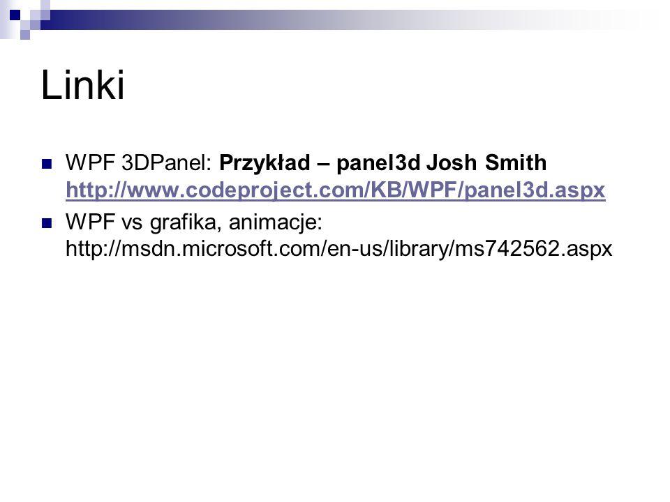WPF 3DPanel: Przykład – panel3d Josh Smith http://www.codeproject.com/KB/WPF/panel3d.aspx http://www.codeproject.com/KB/WPF/panel3d.aspx WPF vs grafik